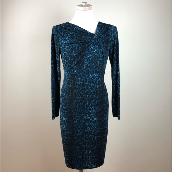 910210687658 David Meister Dresses   Long Sleeve Leopard Print Dress   Poshmark